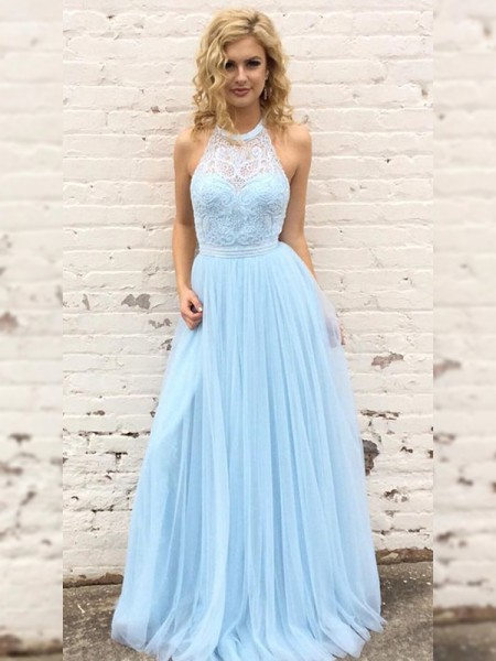 A-Line/Princess Tulle Lace Halter Sleeveless Floor-Length Dress