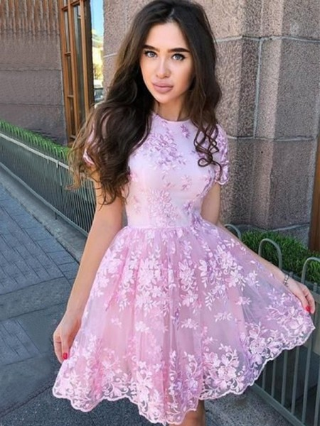 A-Line/Princess Organza Applique Sheer Neck Sleeveless Short/Mini Dress