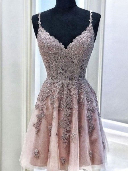 A-Line/Princess Tulle Beading Spaghetti Straps Sleeveless Short/Mini Dress