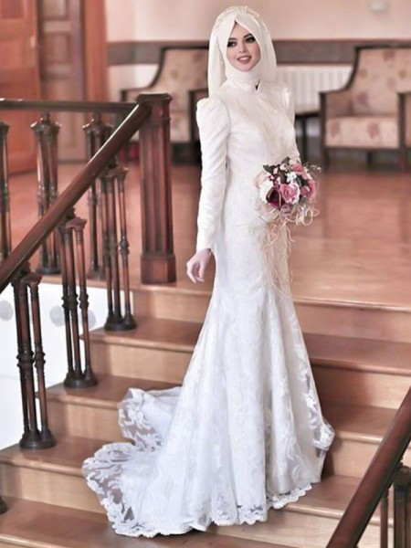 Trumpet/Mermaid High Neck Long Sleeves Sweep/Brush Train Lace Tulle Wedding Dresses