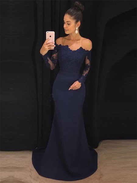 Trumpet/Mermaid Off-the-Shoulder Long Sleeves Sweep/Brush Train Lace Satin Dresses