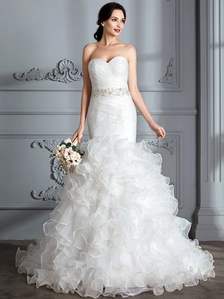 Trumpet/Mermaid Satin Sweetheart Ruffle Sweep/Brush Train Ruffles Wedding Dress