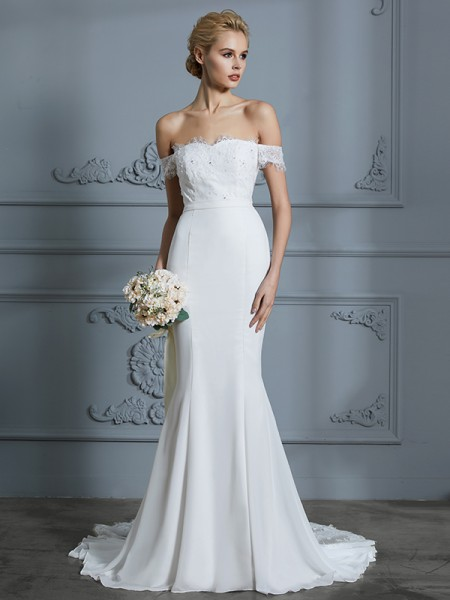 Trumpet/Mermaid Chiffon Off-the-Shoulder Sweep/Brush Train Wedding Dress
