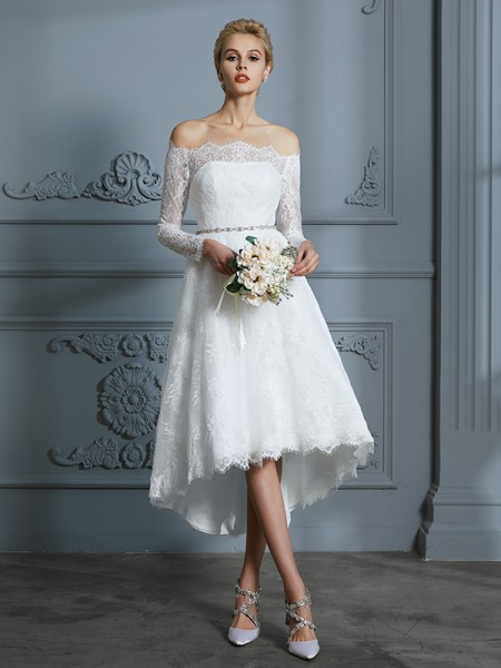 A-Line/Princess Lace Off-the-Shoulder Asymmetrical Wedding Dress