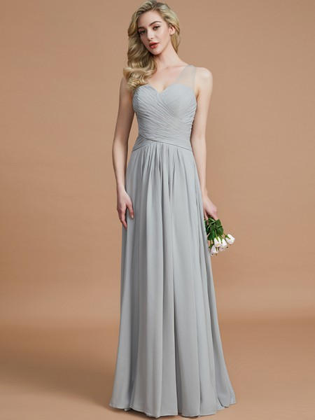 A-Line/Princess Chiffon V-neck Floor-Length Bridesmaid Dress