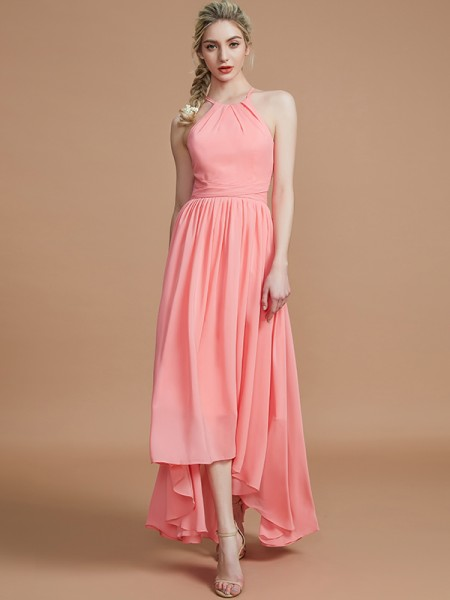 A-Line/Princess Halter Asymmetrical Chiffon Bridesmaid Dress