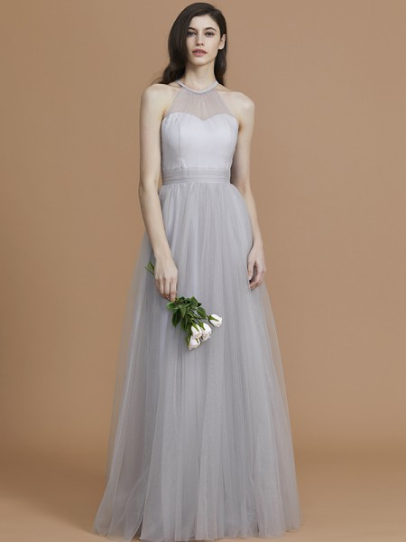 A-Line/Princess Halter Floor-Length Tulle Ruffles Bridesmaid Dress
