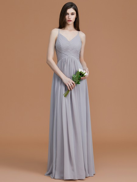 A-Line/Princess Spaghetti Straps Floor-Length Chiffon Ruched Bridesmaid Dress