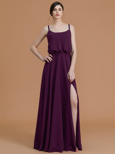 A-Line/Princess Spaghetti Straps Floor-Length Chiffon Ruffles Bridesmaid Dress