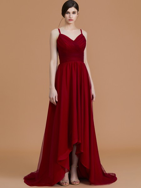 A-Line/Princess Spaghetti Straps Asymmetrical Chiffon Ruffles Bridesmaid Dress