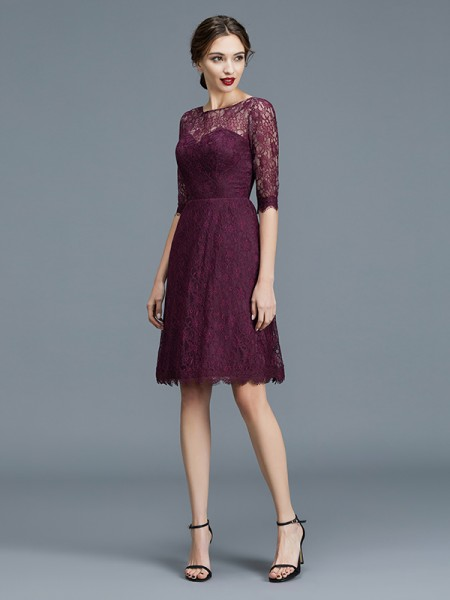 A-Line/Princess Bateau Knee-Length Satin Bridesmaid Dress