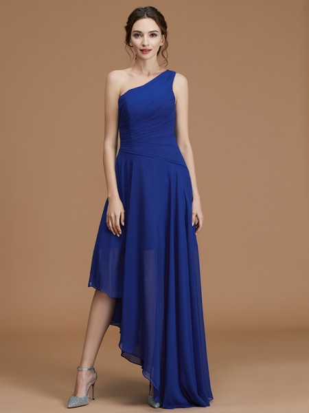 A-Line/Princess One-Shoulder Asymmetrical Chiffon Ruffles Bridesmaid Dress