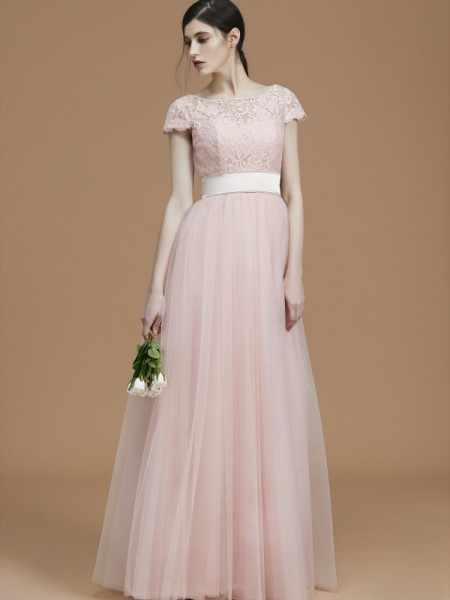A-Line/Princess Bateau Floor-Length Tulle Sash/Ribbon/Belt Bridesmaid Dress