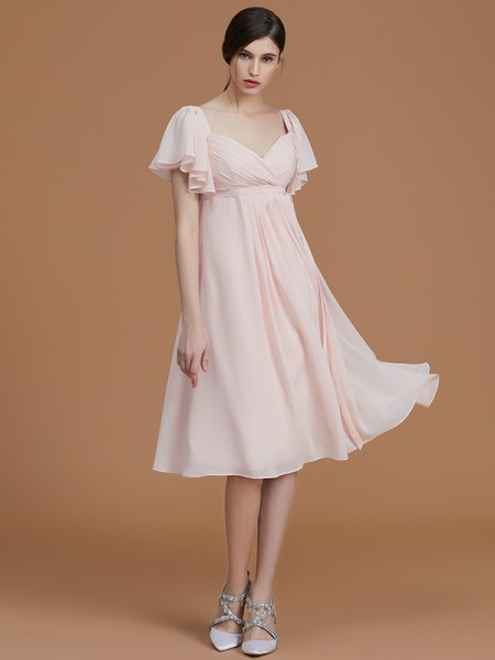 Empire Sweetheart Knee-Length Chiffon Ruched Bridesmaid Dress