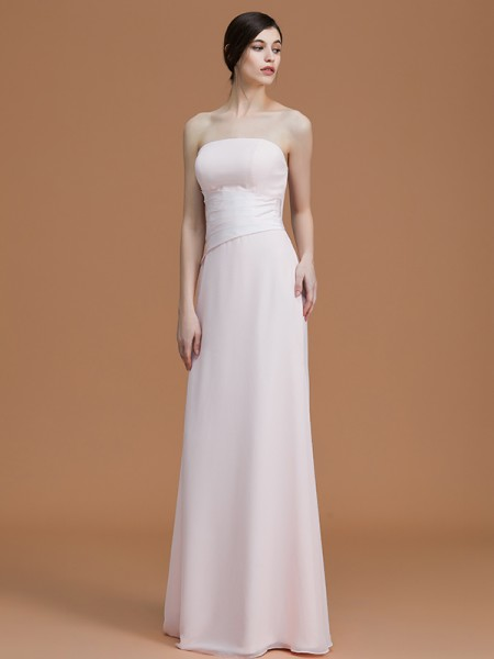 A-Line/Princess Strapless Floor-Length Chiffon Ruched Bridesmaid Dress