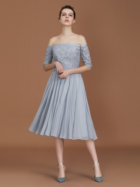 A-Line/Princess Off-the-Shoulder Tea-Length Chiffon Bridesmaid Dress