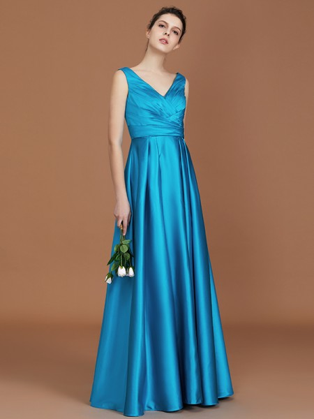 A-Line/Princess V-neck Floor-Length Satin Bridesmaid Dress