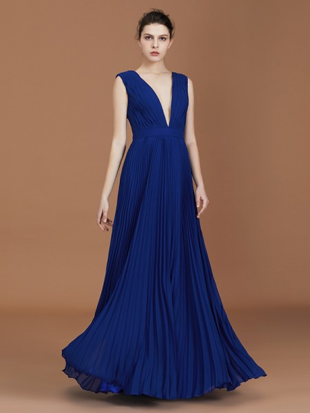 A-Line/Princess V-neck Pleated Floor-Length Chiffon Bridesmaid Dress