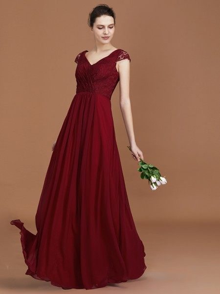 A-Line/Princess Lace Chiffon V-neck Floor-Length Ruched Bridesmaid Dress