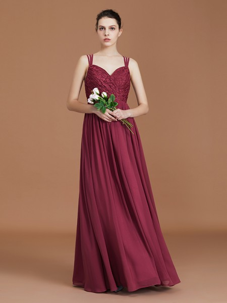 A-Line/Princess Lace Sweetheart Chiffon Floor-Length Ruched Bridesmaid Dress