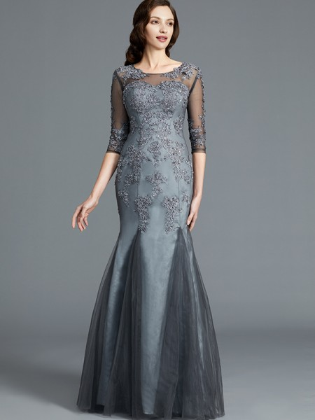Sheath/Column Tulle Scoop Floor-Length Applique Mother of the Bride Dress