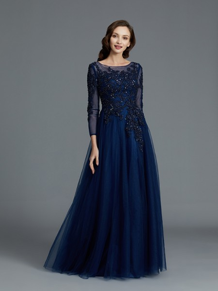 A-Line/Princess Scoop Floor-Length Tulle Mother of the Bride Dress