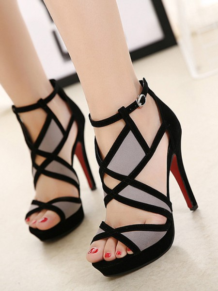 Hollow-out Stiletto Heel Peep Toe Sandals