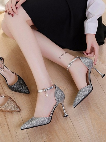 Stiletto Heel Closed Toe Sparkling Glitter High Heels