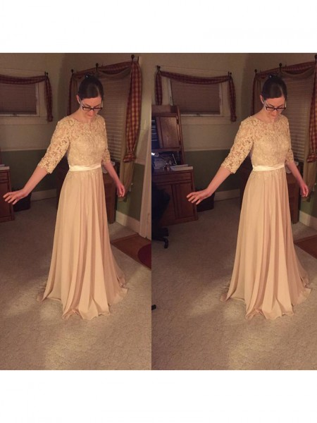 A-Line/Princess Sheer Neck Lace Floor-Length Chiffon Mother Of The Bride Dress