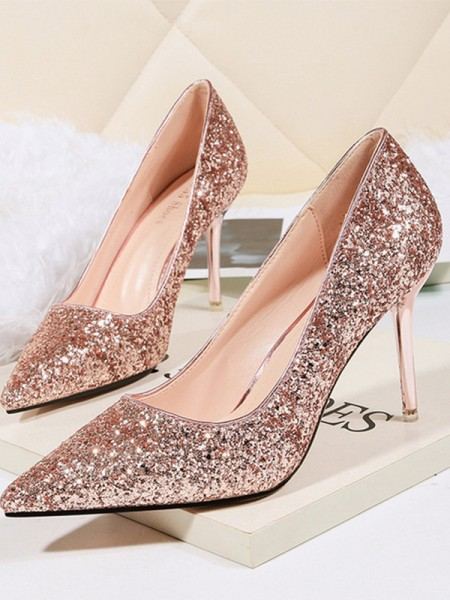 Stiletto Heel Sparkling Glitter Closed Toe High Heels