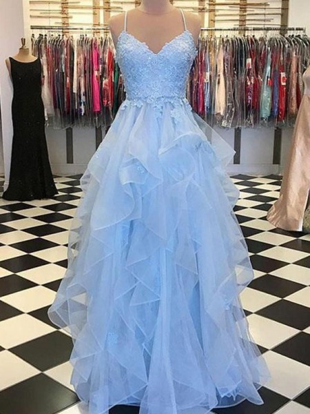 A-Line/Princess Sleeveless Spaghetti Straps Applique Floor-Length Organza Dress