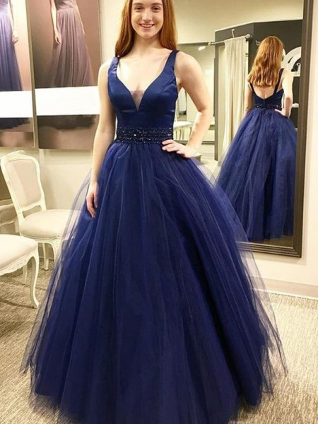 Ball Gown V-neck Sleeveless Floor-Length Beading Tulle Dress