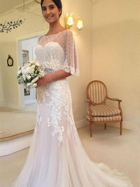 Sheath/Column Tulle Applique Sleeveless Sweep/Brush Train Wedding Gowns