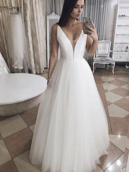 A-Line/Princess Tulle Ruffles V-neck Sleeveless Floor-Length Wedding Gowns
