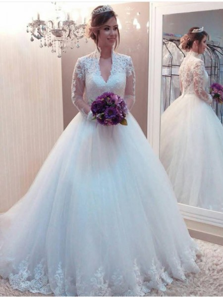 Ball Gown Tulle Applique High Neck Long Sleeves Sweep/Brush Train Wedding Gowns