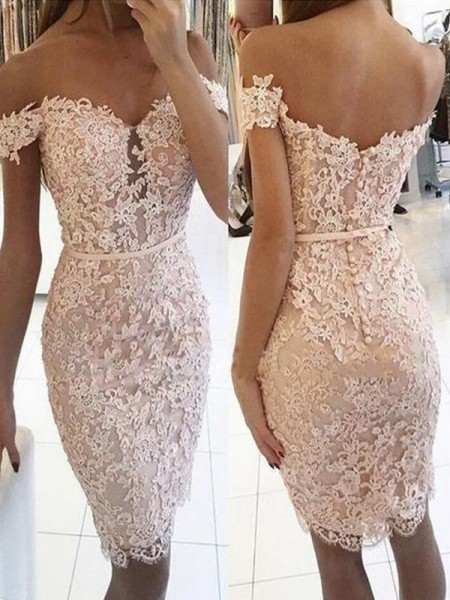 Sheath/Column Lace Off-the-Shoulder Sleeveless Knee-Length Short Dress