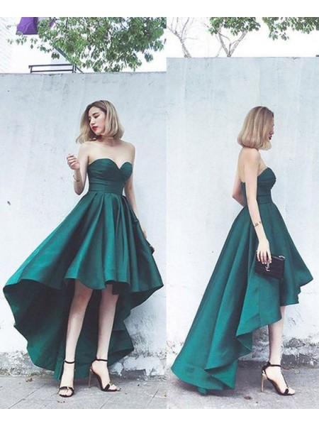 A-Line/Princess Satin Ruffles Sweetheart Sleeveless Asymmetrical Dress