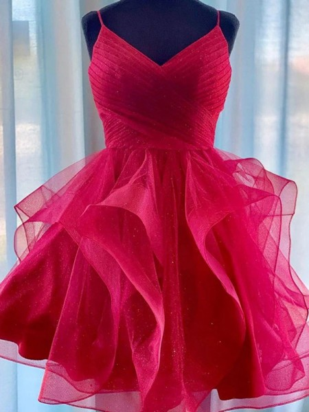 A-Line/Princess Tulle Spaghetti Straps Sleeveless Ruffles Short/Mini Dress