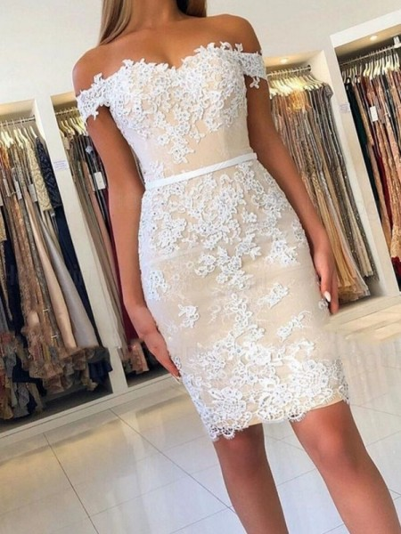 Sheath/Column Lace Off-the-Shoulder Sleeveless Applique Short/Mini Dress