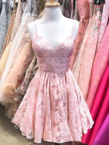 A-Line/Princess Spaghetti Straps Sleeveless Lace Ruffles Short/Mini Dress