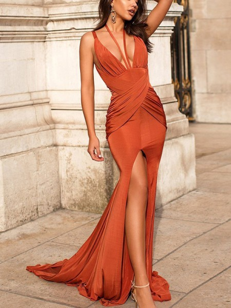 Trumpet/Mermaid Ruched Sleeveless Satin V-neck Sweep/Brush Train Dresses