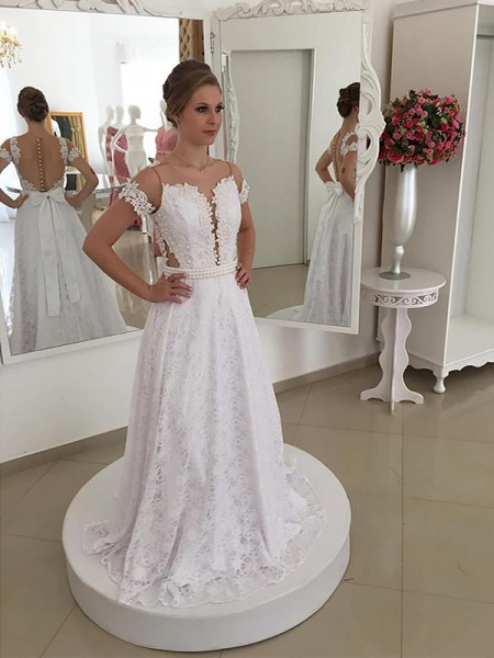 A-Line/Princess Scoop Lace Sweep/Brush Train Wedding Dress