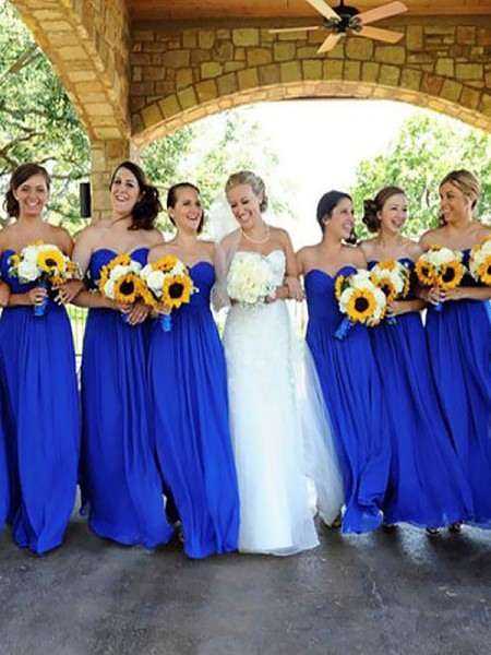 A-Line/Princess Floor-Length Sweetheart Chiffon Bridesmaid Dress