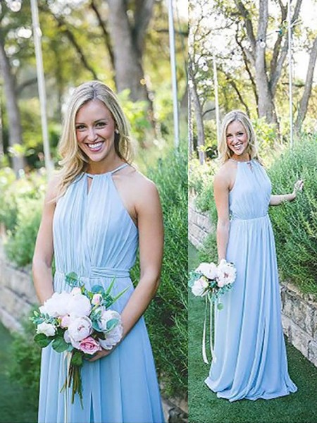 A-Line/Princess Halter Chiffon Floor-Length Bridesmaid Dress