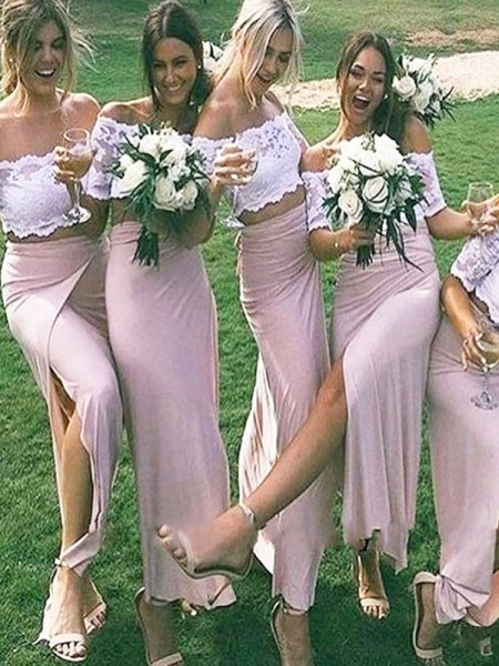Sheath/Column Jersey Off-the-Shoulder Floor-Length Bridesmaid Dress