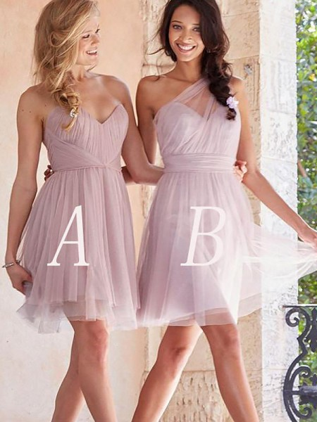 A-Line/Princess Tulle Short/Mini Bridesmaid Dress