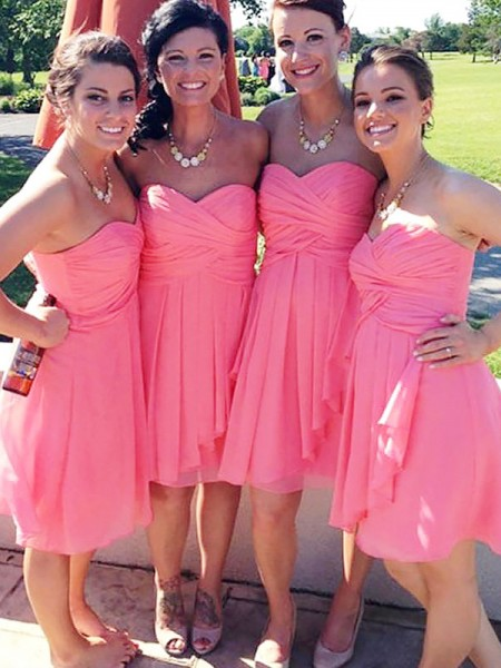 A-Line/Princess Short/Mini Sweetheart Chiffon Bridesmaid Dress