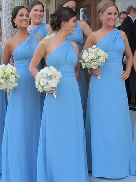 Sheath/Column One-Shoulder Chiffon Floor-Length Bridesmaid Dress