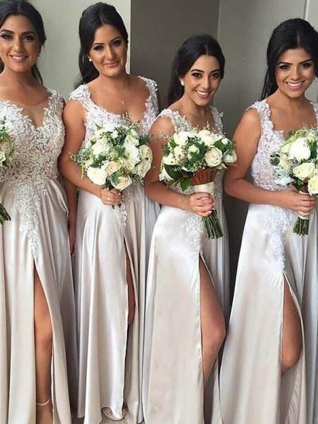 Sheath/Column V-neck Silk like Satin Floor-Length Bridesmaid Dress