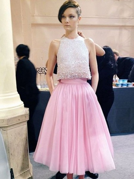 A-Line/Princess Scoop Sleeveless Tea-Length Tulle Dress